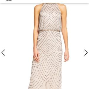 Adrianna Papell beaded dress- taupe